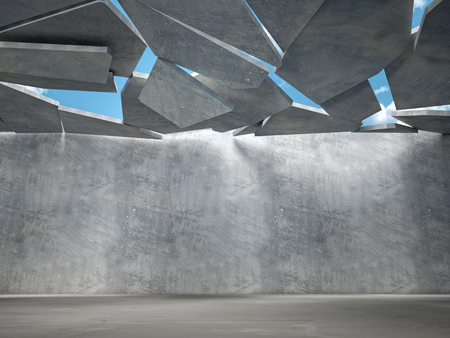damaged roof: 3d image of concrete falling roof