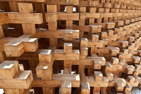 building structures: closeup of natural wood structure Stock Photo
