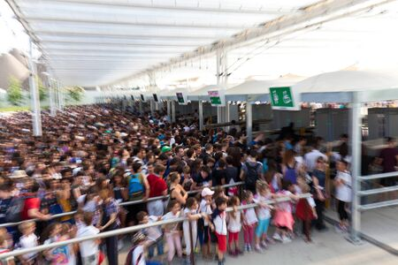 exhibition crowd: MILAN, ITALY - June 04, 2015: crowd at the gate  EXPO 2015