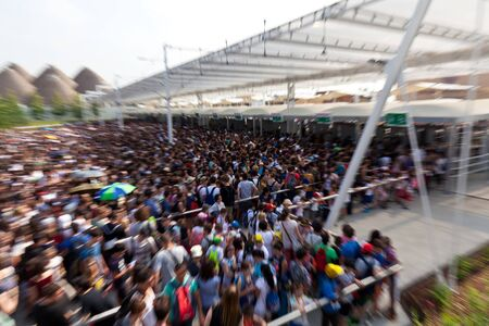 expo: MILAN, ITALY - June 04, 2015: crowd at the gate  EXPO 2015