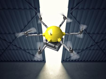 hangar: 3d image of huge hangar doors and drone