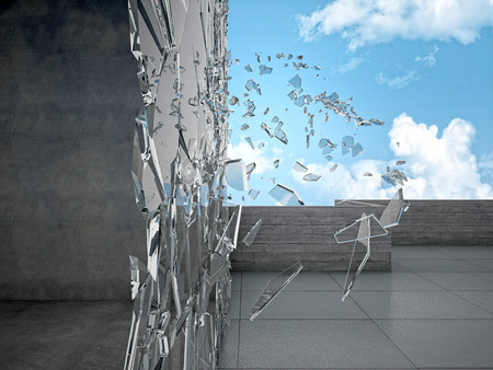 broken wall: modern building and glass explosion
