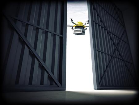 3d image of huge hangar doors and drone