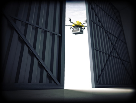 3d image of huge hangar doors and drone