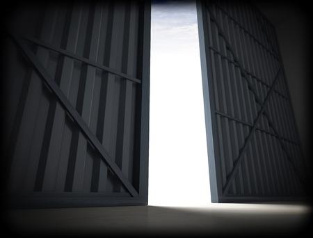 puerta: Imagen 3d de enormes puertas del hangar