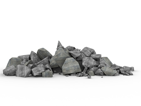 3d image of concrete rubble on white 写真素材