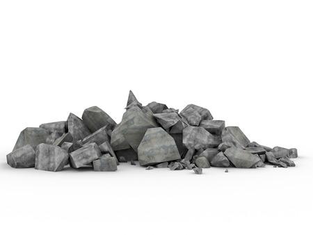 3d image of concrete rubble on white Stockfoto