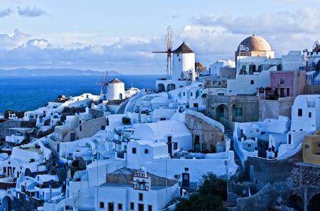 oia: view of oia town in santorini greece