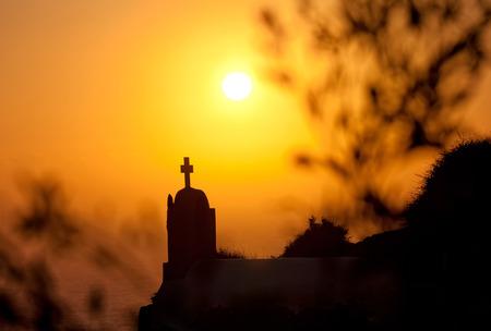 scenary: oia at sunset santorini island greece