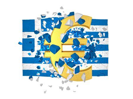 muro rotto: Immagine 3D della Grecia muro rotto e il simbolo dell'euro