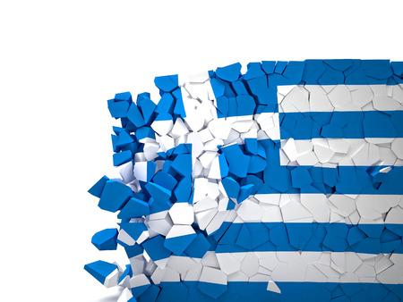 broken wall: broken wall with greece flag Stock Photo