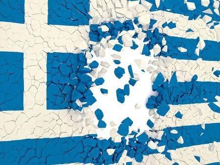 broken wall: pared rota con la bandera grecia