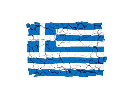 muro rotto: muro rotto con bandiera della Grecia