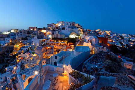 europe travel: santorini island oia night view