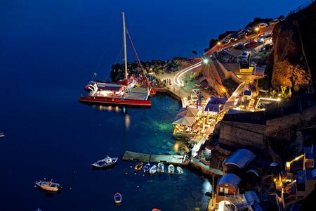 oia: santorini island oia harbour night view Stock Photo