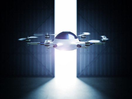 hangar: futuristic 3d drone and hangar doors Stock Photo