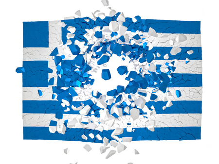broken wall: Imagen 3d de grecia pared rota Foto de archivo