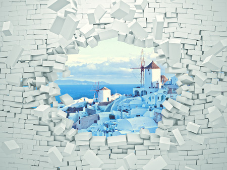 hole in wall: breaking 3d wall and santorini landscape Stock Photo