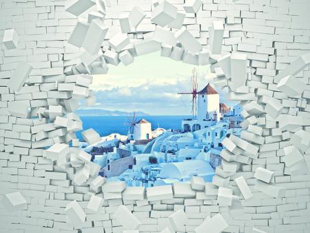breaking 3d wall and santorini landscape Stockfoto