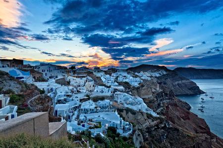 urbanscape: oia at sunrise santorini island greece Stock Photo