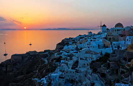 scenary: santorini island oia sunset view