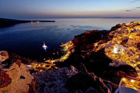scenary: santorini island oia harbour night view Stock Photo