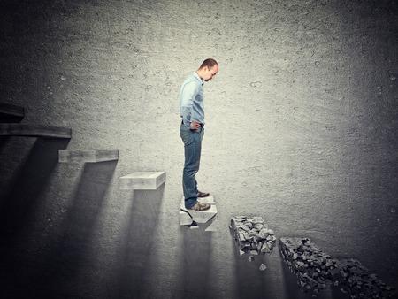 broken up: standing man on 3d abstract broken stair Stock Photo
