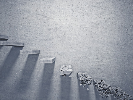proble: 3d image of broken concrete stair Stock Photo