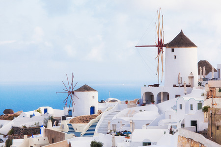 scenary: view of oia town in santorini greece
