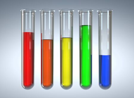 test glass: 3d image of classic glass test tubes Stock Photo