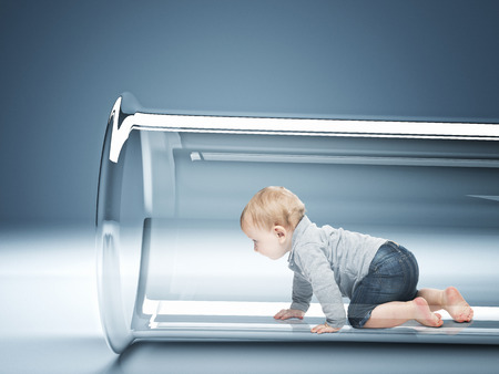 caucasian baby in test tube 3d