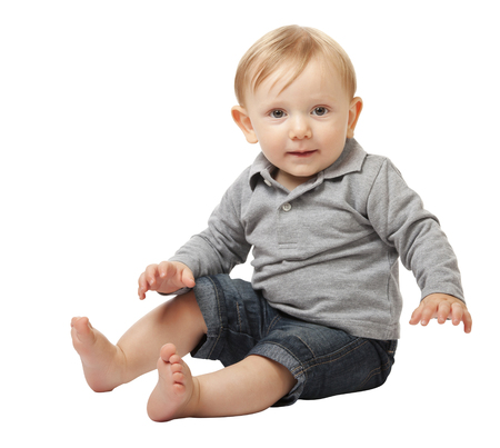 child portrait: child portrait isolated on white background Stock Photo