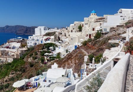 scenary: view of oia town in santorini greece