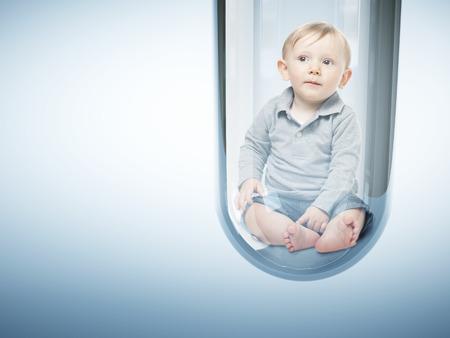 Kaukasische baby in reageerbuis 3d