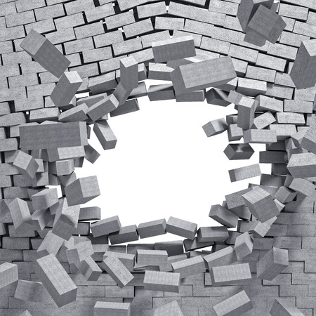 smashed: 3d image concrete breaking wall Stock Photo