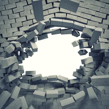 breaking: 3d image of breaking concrete wall