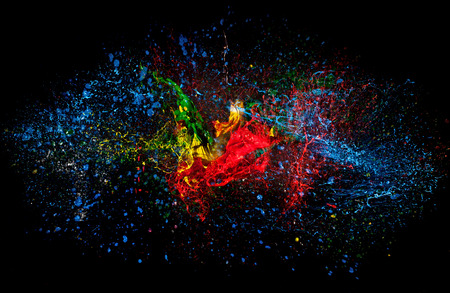 colorful: high speed photography of ink color explosion Stock Photo