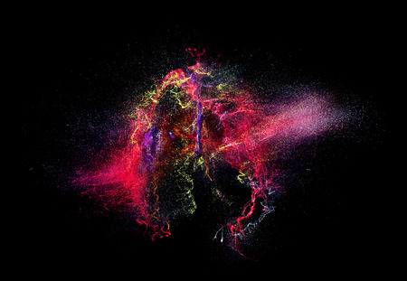 high speed photography of ink color explosion Stock Photo