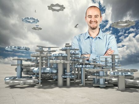 industry: smiling man and 3d industry plan