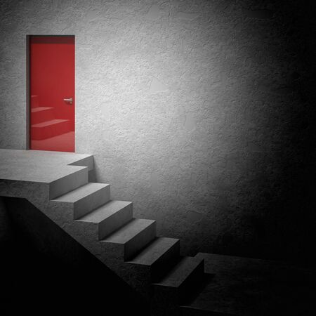 choise: 3d image of stair and door