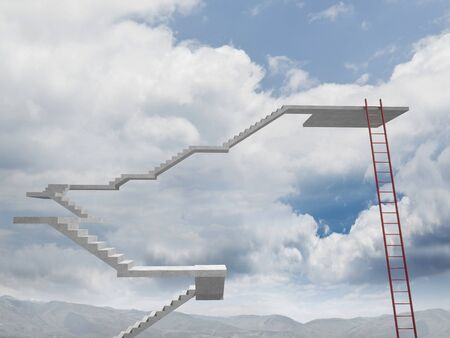 choise: 3d image of stair and sky background