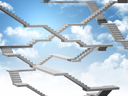 concrete stairs: 3d image of stair and sky Stock Photo