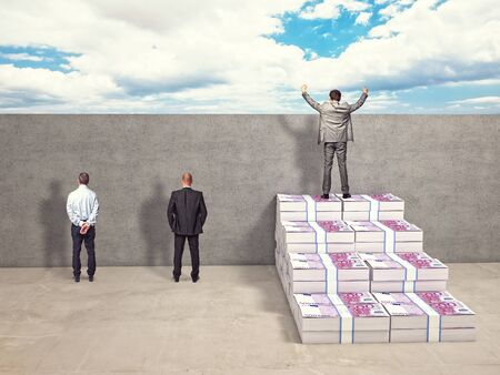 business money: business people and money stair Stock Photo
