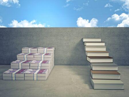 dinero euros: Imagen 3D de la escalera de dinero y el libro