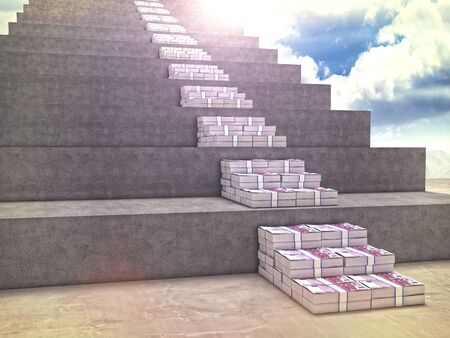 money stack: 3d image of money stair and wall Stock Photo