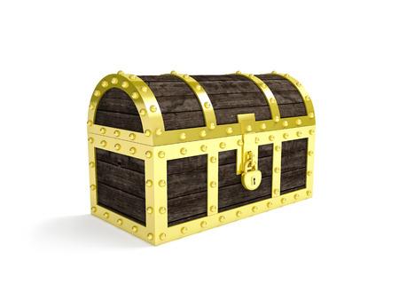 treasure chest: 3d image of classic chest treasure