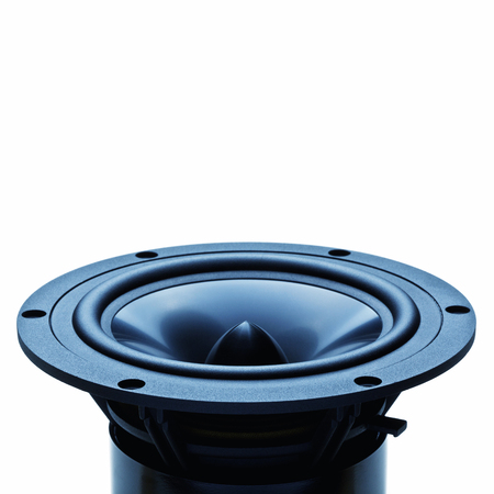 speaker: classic woofer speaker on white background