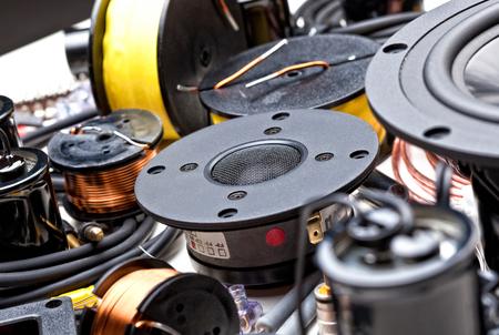 screw jack: closeup of crossover speaker part Stock Photo
