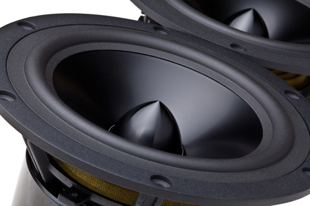 closeup image of woofer speaker Stock Photo