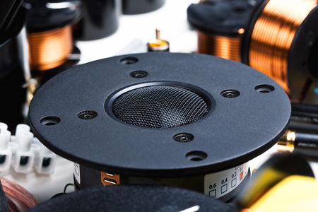 crossover: closeup of crossover speaker part Stock Photo